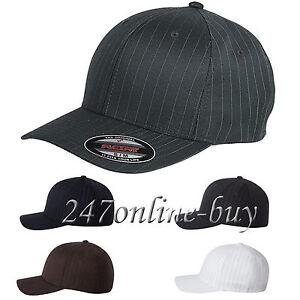 17c449f727259 Image is loading Flexfit-Pinstripe-Fitted-Baseball-Cap-Plain-Original-Hat-