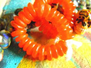 Orange Mandarin Transparente Krobo-scheiben Gewissenhaft Afrikan Recycleglas-25stk-ca.12mm