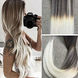 european ombre balayage tape in remy hair extensions dark brown blonde extension ebay. Black Bedroom Furniture Sets. Home Design Ideas