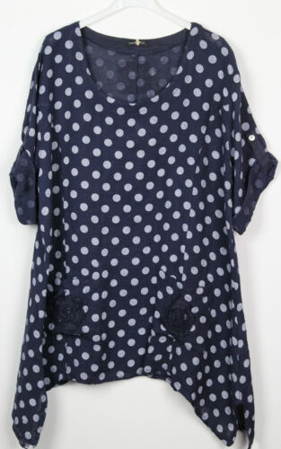 Ladies Italian Quirky Lagenlook Polka Dot Flower Pocket Design Linen Tunic Top