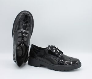 Geox Girls J Casey N Nappa Black Lace Up Leather School Brogues Size 11.5 EU 30
