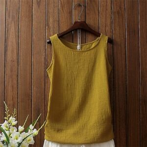 9a3ec44060b3 Ladies Linen Cotton Vest Baggy Casual Tank Tops Undershirts Sheer ...