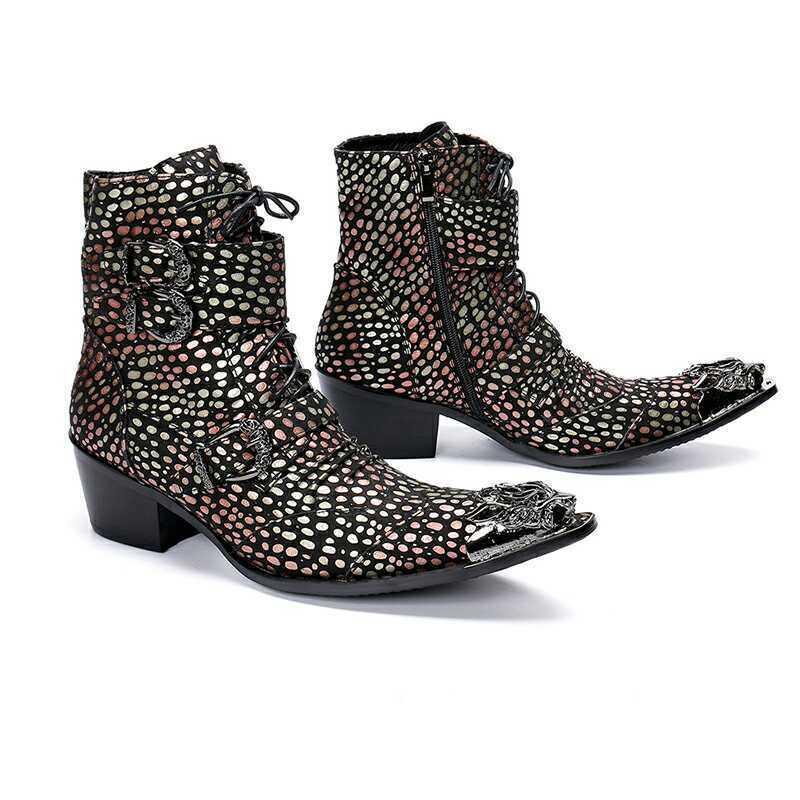 Men Zipper Leather Business Formal Sequins Punk Buckle Strap Ankle Boots shoes