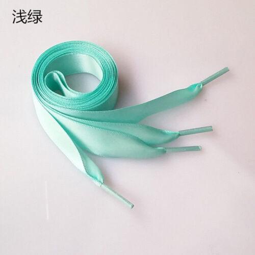 1Pair Shoelaces Flat Silk Satin Ribbon Sport Shoes Laces Sneakers 80cm to 140cm