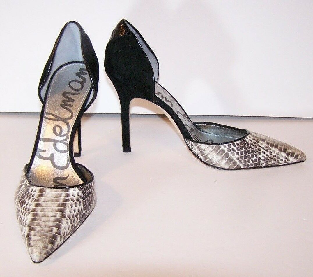 SAM EDELMAN 7.5 Delilah D'Orsay Stiletto Croc Pointy Toe Pump Heels Croc Stiletto B&W 082326