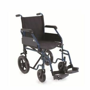 Carrozzina pieghevole da transito 43 cm. Sedia a rotelle per disabili e anziani