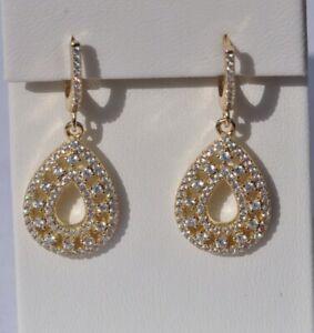 Echt-925-Sterling-Silber-Ohrringe-Zirkonia-vergoldet-gold-Nr-226