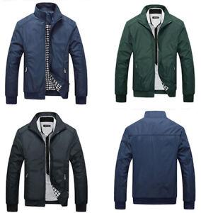 Men S Slim Fit Stand Collar Bomber Jacket Coat Outwear Tops Blazer