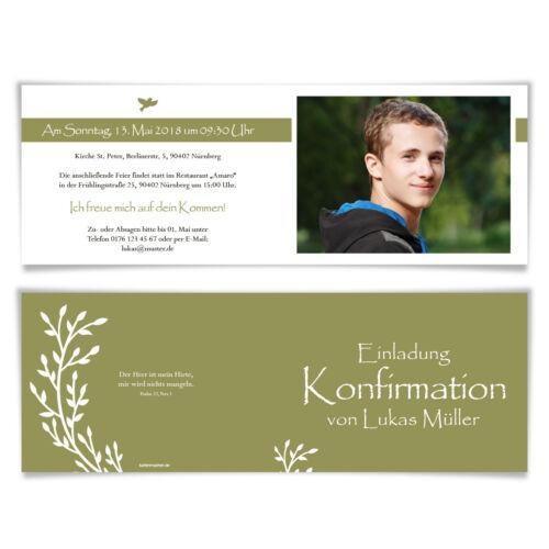 Communion invitation cartes Communion Cartes Invitations croissant bourgeons
