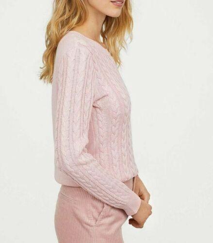 XL Ex H/&M Cotton Blend  Cable Knit Round Neck Jumper 6 Colours Size XS
