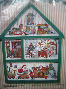 Bucilla Counted Cross Holiday Hutch House KIT,THE NIGHT BEFORE CHRISTMAS,#83141