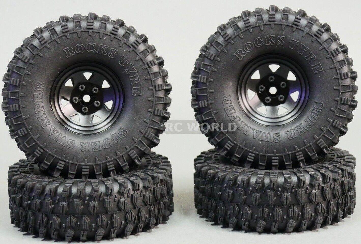 1 10 Scale Truck Llantas 1.9 Acero STAMPED beadlock Ruedas Neumáticos De Rock 120MM Negro