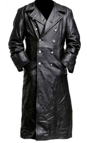 MENS GERMAN CLASSIC WW2 OFFICER MILITARY UNIFORM BLACK LEATHER TRENCH COAT