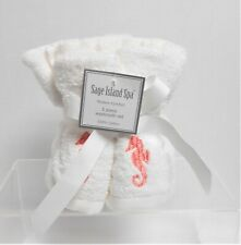 Coastal Home 5-pk Seahorse Embroidered Wash Cloth Set 5 Pc Set White//aqua
