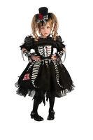 Toddler Bones Costume Girls Skeleton Gothic Spooky Cute Dress Size 2t-4t