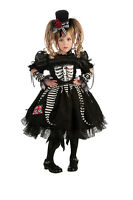 Toddler Bones Costume Girls Skeleton Gothic Spooky Cute Dress Size 2t-4t