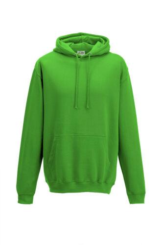 Adulti Bambini Tinta Unita Verde Lime Felpa con Cappuccio Hoodia senza Logo
