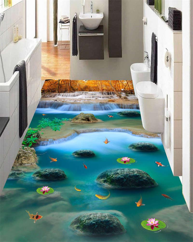 Fallen Strom Goldfisch 3D Fußboden Wandgemälde Foto Bodenbelag Tapete Zuhause