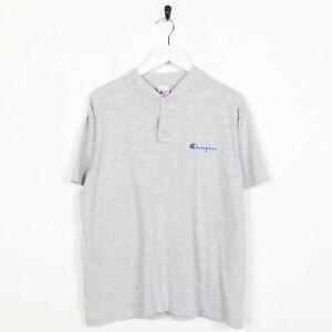 Vintage-90s-CHAMPION-Small-Logo-Button-Neck-T-Shirt-Tee-Grey-Medium-M