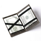 Men Crazy Horse Leather Cool Wallet ID Flip Magic Money Clip Double Sided