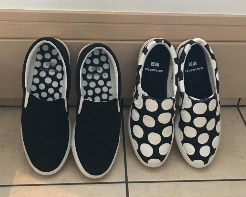 Marimekko & Uniqlo 2018 Negro blancoo Manchado Manchado Manchado Slip-on Lona Zapatos Tenis Bombas  productos creativos