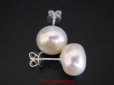 Solid 925 Sterling Silver Freshwater Cultured Pearl Button Ladies Stud Earrings