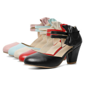 Women-Mary-Jane-Shoes-Sweet-Classic-Cut-Out-Closed-Toe-Party-Ankle-Strap-Pumps