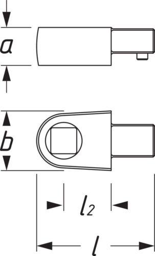 Hazet durchsteck-Tête Carrée massif 10 mm 3//8 pouces sur 6,3 mm 1//4 pouces 6413-2