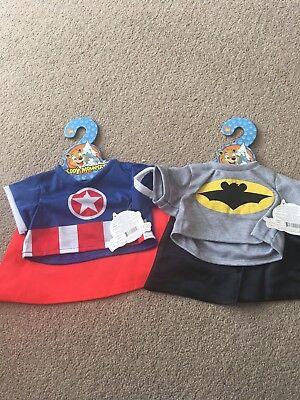 """Batman Style 16"""" Tshirt & Cape For Build A Bear Style Teddy"""