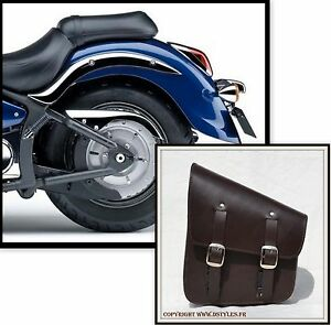 MARRON-Sacoche-laterale-de-cadre-rigide-softail-solo-leather-brown-bag-moto