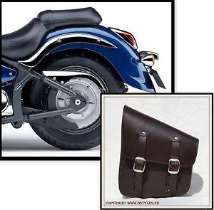 MARRON-Sacoche-laterale-de-cadre-rigide-softail-solo-leather-brown-bag-moto