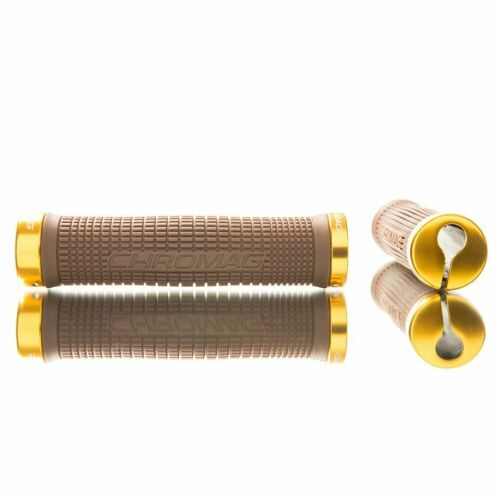 Chromag Squarewave Lock On Grips w// Clamps Brown//Gold Bike