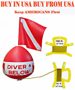 Flag-Float-Scuba-Snorkel-Dive-inflatable-vinyl-vynl-bouy-buoy-ball-red-white-kit