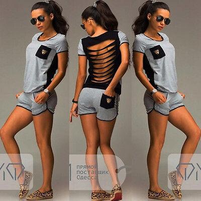 New Womens 2Pcs Short Sleeve Tops T-Shirt Blouse Shorts Hot Pants Sportwear Sets