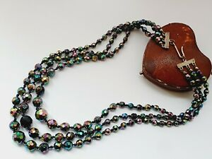 "Vintage  18"" 1950s Aurora Borealis Faceted Glass Triple Strand Necklace"