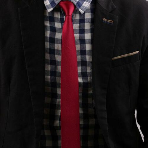 Black Men Women British Narrow Casual Plain Group Solid Color Tie O3