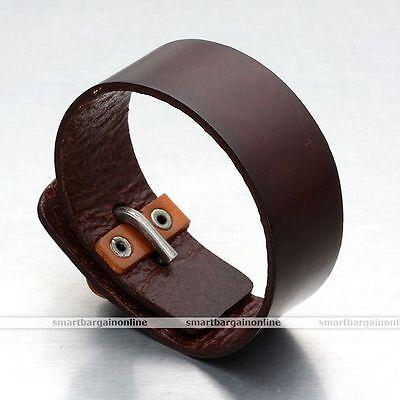 Punk Genuine Leather Mens Womens Wrap Bracelet Biker Cuff Wristband Bangle Gifts