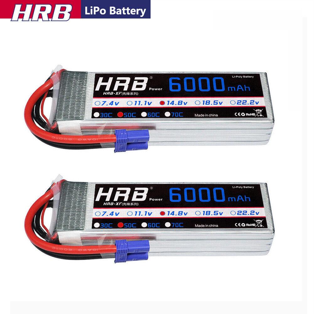 HRB 2 un. 14.8V 6000mAh 4S Lipo Batería 50C-100C EC5 Para Radio Control Heli coche barco de camión