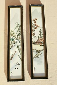 2-Vintage-Japanese-Hand-Painted-Signed-Framed-Porcelain-Village-Tiles