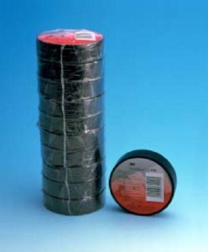 lot de 10 Adhesif Electricien 3M Temflex 1500 Noir 15 mm x 10 m