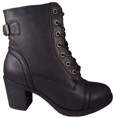 Wild Diva Women High Heel Combat Army Military Riding Buckle Boots Black Booties