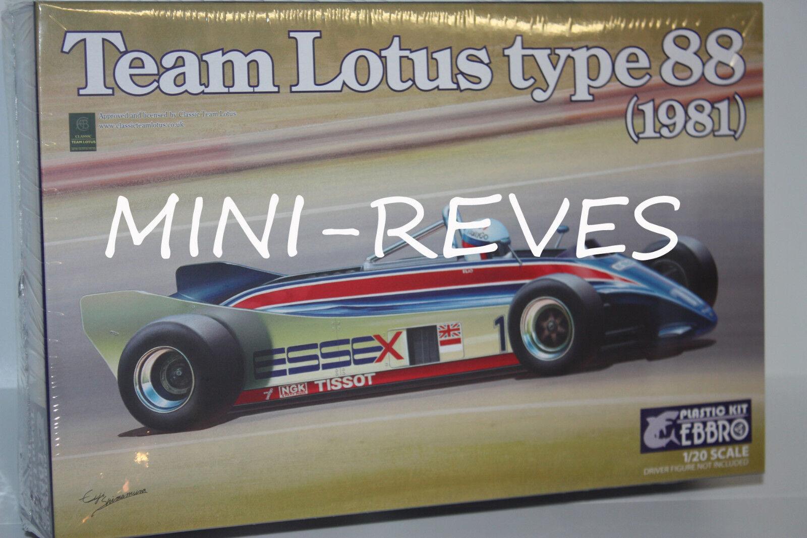mejor calidad mejor precio Ebbro F1 Lotus 88 1981 1 20 20 20 Ebr011  Tienda 2018