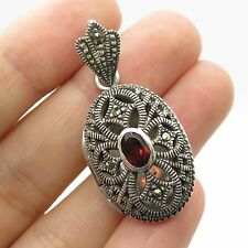 925 Sterling Silver Real Red Garnet Marcasite Gemstone Locket Pendant