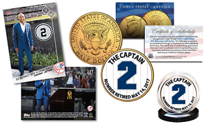 DEREK-JETER-Set-with-TOPPS-NOW-Retired-2-Trading-Card-amp-24K-JFK-Yankee-2-Coin