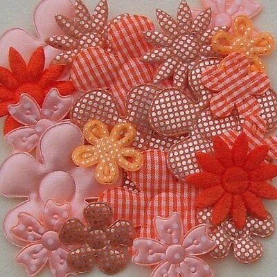 20 MIXED EMBELLISHMENT FLOWERS 2.5CM -4.7CM APPROX (LOTS OF COLOURS TO CHOOSE)
