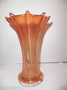 Vintage-Northwood-Carnival-Glass-Marigold-Signed-Wide-Rib-Vase-7-5-034-H
