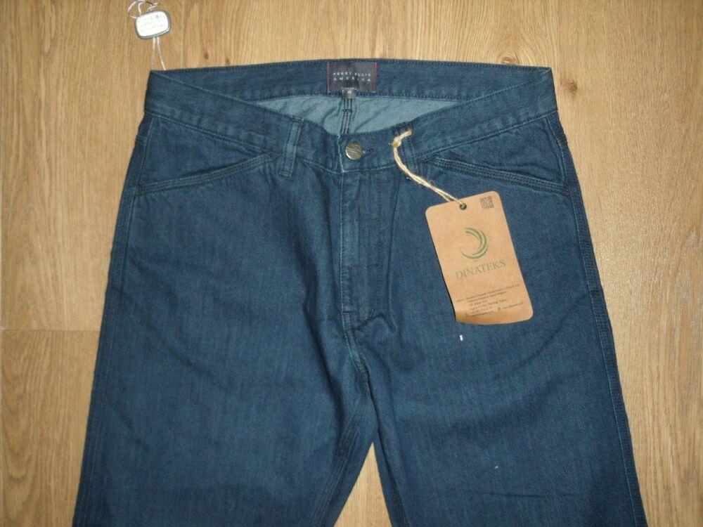 Perry Ellis America Hommes Foncé Bleu Délavé Jeans Pantalon Jambe Large W32 L32 Neuf