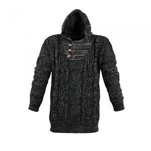 Image is loading Lavecchia-Hood-Knitted-Jumper-Black-Size-3XL-4XL- 4fe5fef805