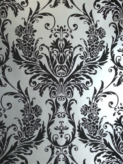 Debona Damask Medina Flock Effect Silver Black Luxury Feature Wall