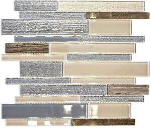 Détails sur Glasmosaik pierre naturelle beige gris Cuisine Carrelage Miroir  Mur de Douche 67-gv24 | 10 nattes- afficher le titre d\'origine